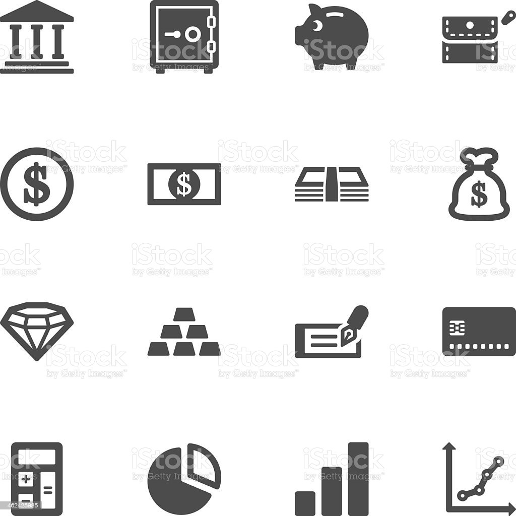 Sixteen finance graphic icons isolated on white background vector art illustration