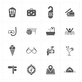 sixteen flat free travel icons