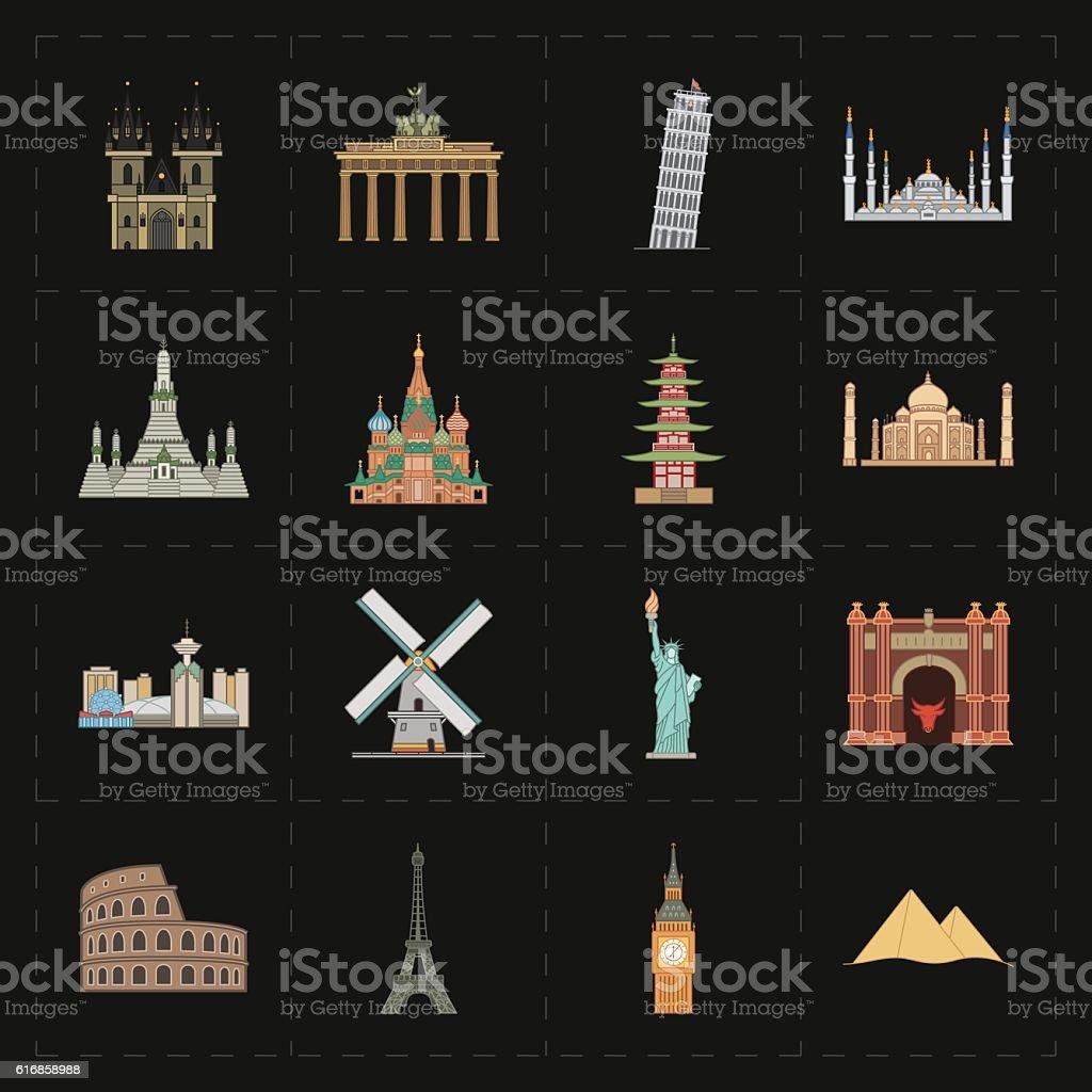 sixteen flat landmark icons vector art illustration