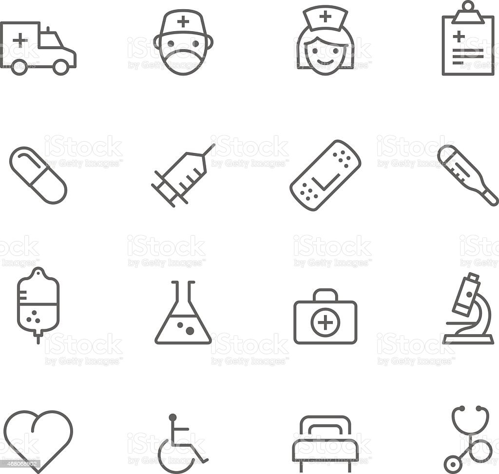 Sixteen medical icon line drawings vector art illustration