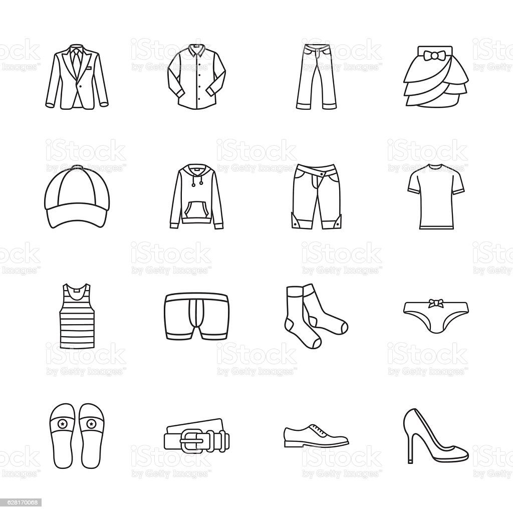sixteen modern clothes icons vector art illustration