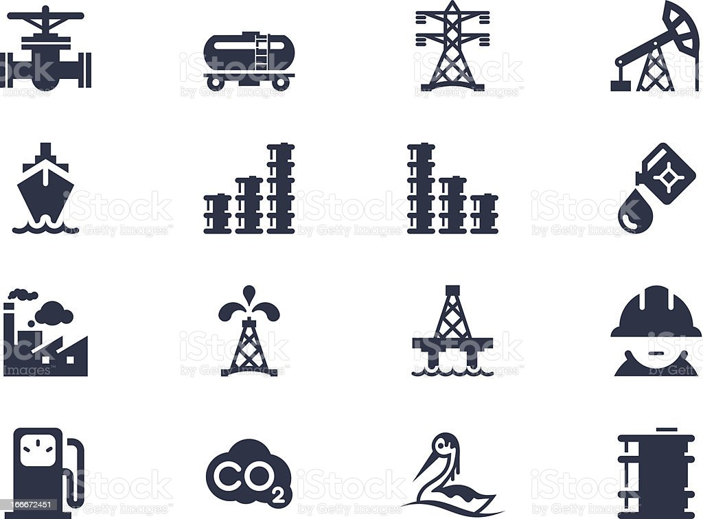 Sixteen navy blue icons about the oil industry vector art illustration