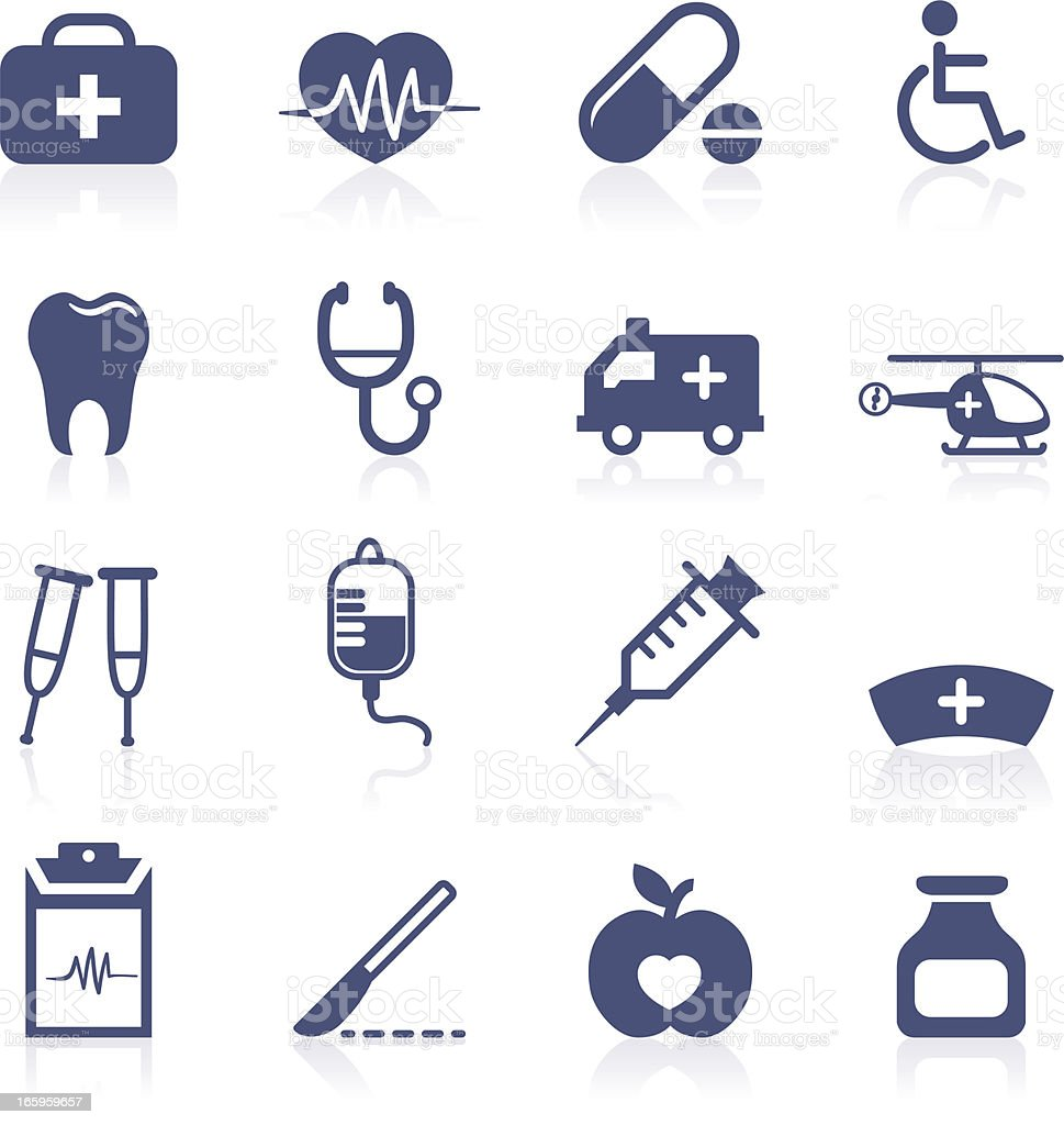 Sixteen Navy Blue Medical Symbols on a White Background vector art illustration
