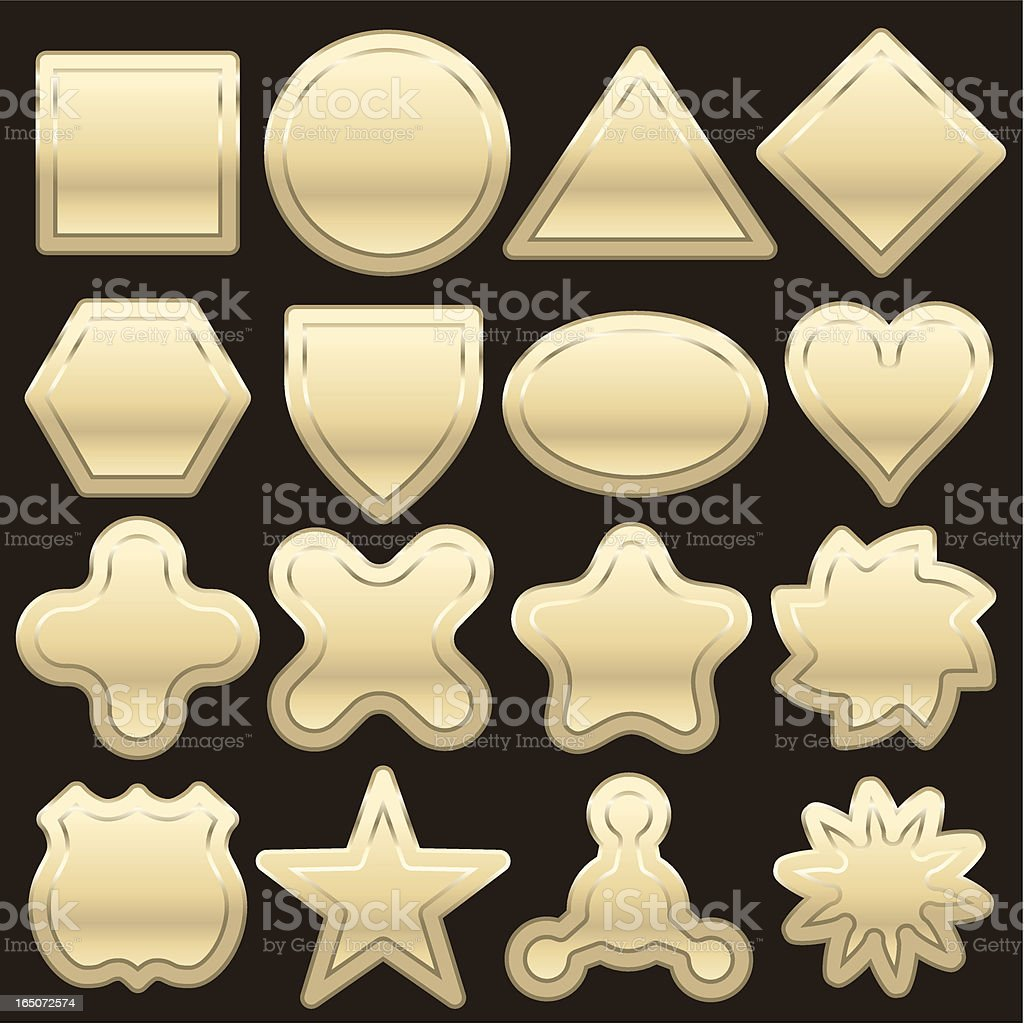Sixteen White gold shapes royalty-free stock vector art