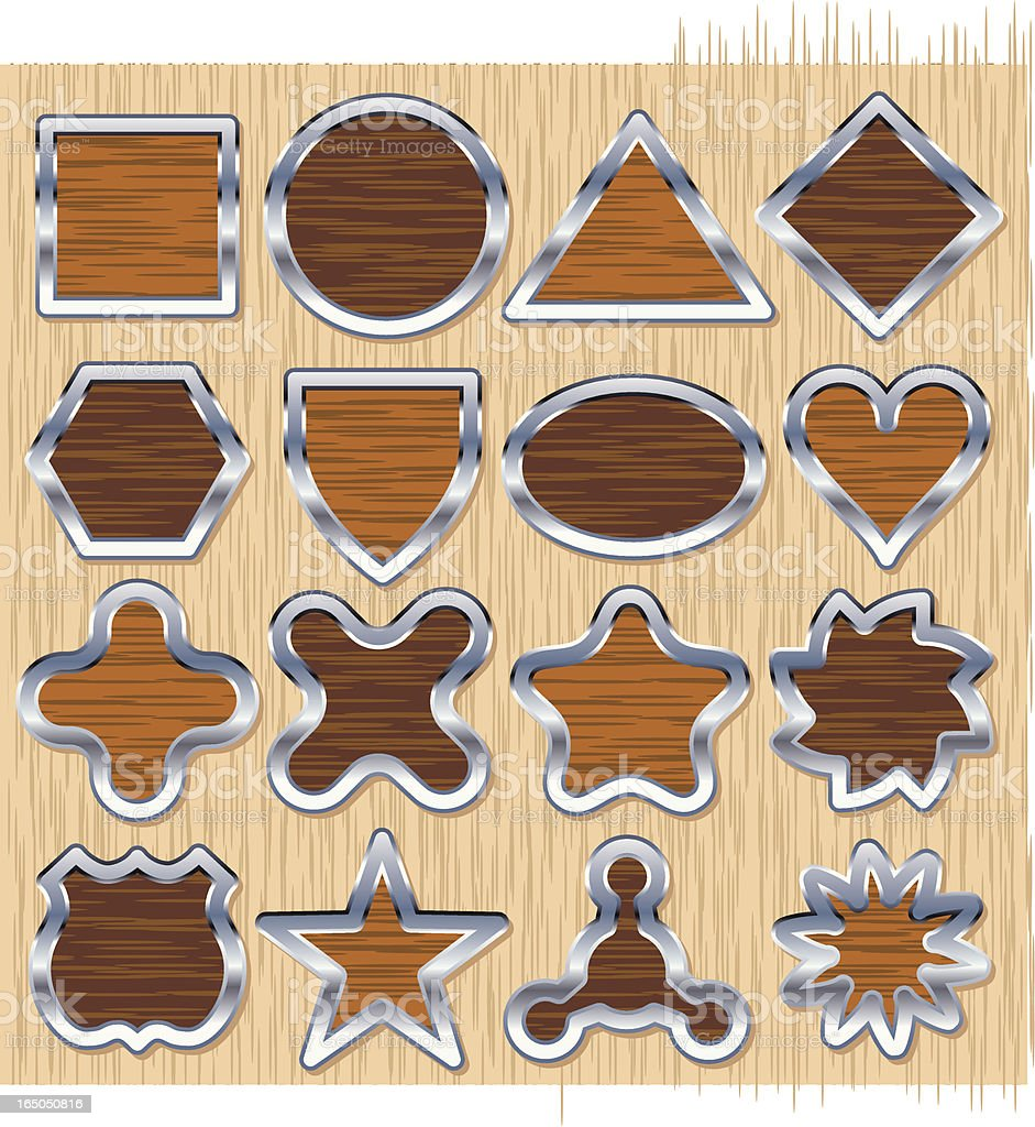 Sixteen Wooden Emblems royalty-free stock vector art