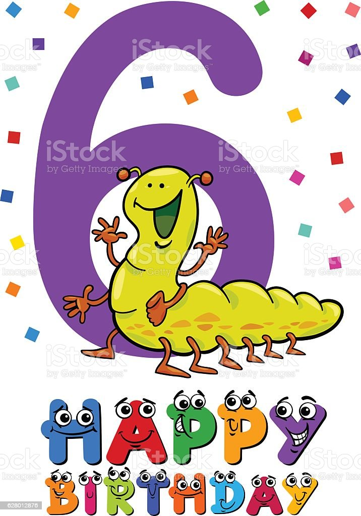 sixth birthday cartoon card vector art illustration