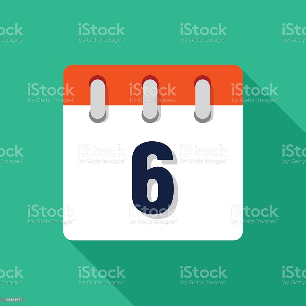 Sixth Flat Design Calendar Icon - VECTOR vector art illustration