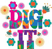 Sixties style mod pop art Dig it  text design.