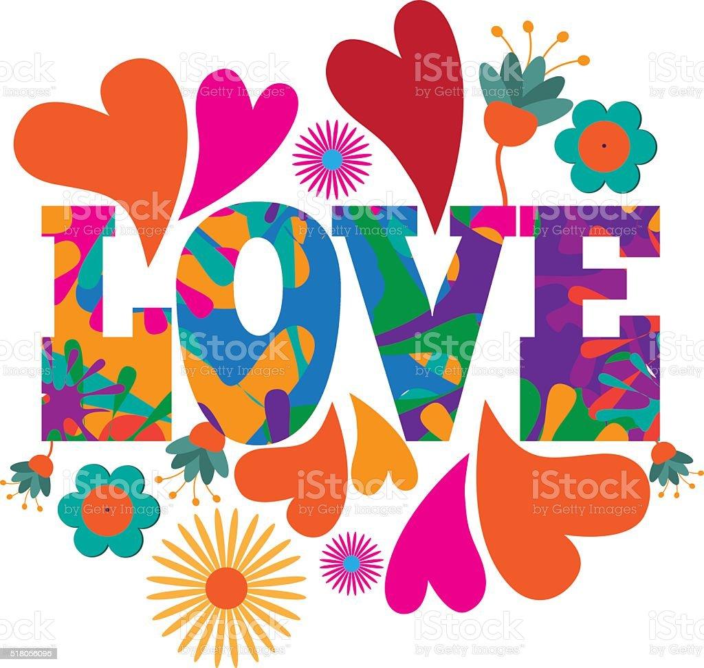 Sixties style mod pop art Love text design. vector art illustration