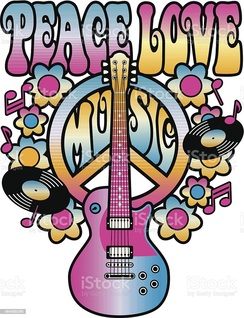 Sixties style Peace Love Music cartoon image vector art illustration