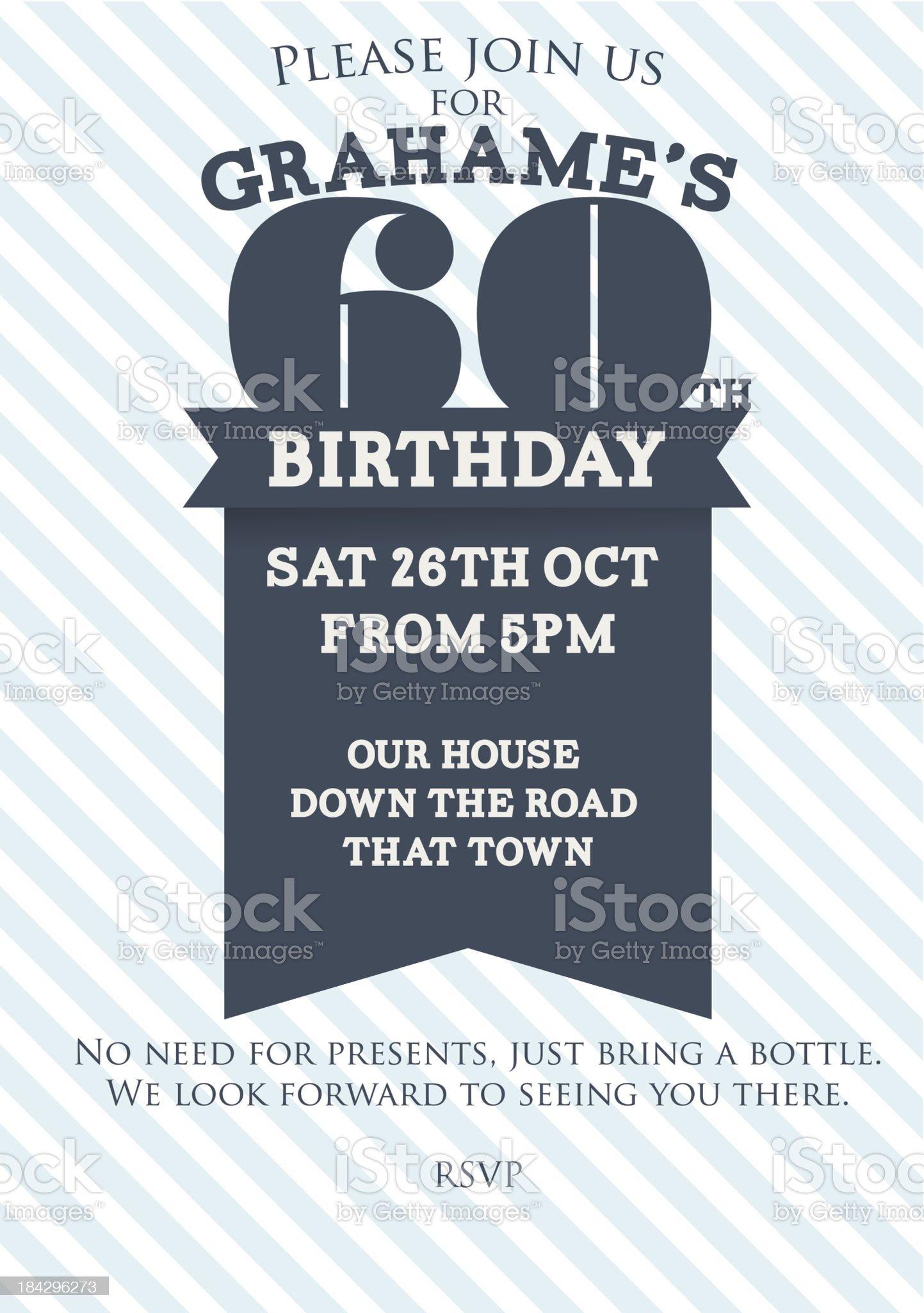 Sixtieth Birthday invitation royalty-free stock vector art