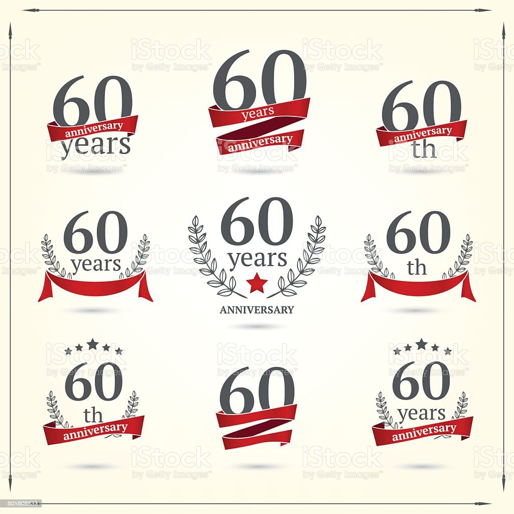 Sixty years anniversary icons collection vector art illustration