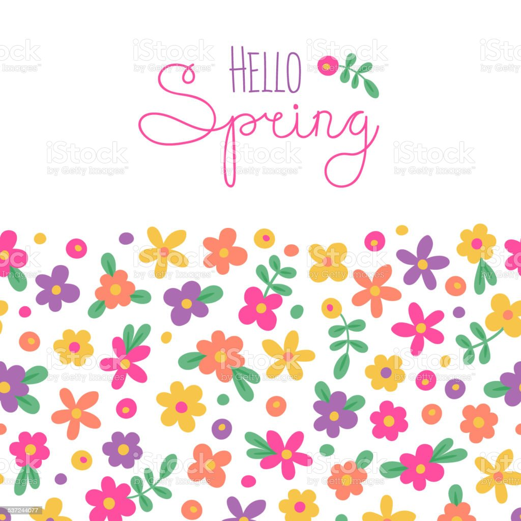 Sizon card Hello Spring with cute flowers vector art illustration