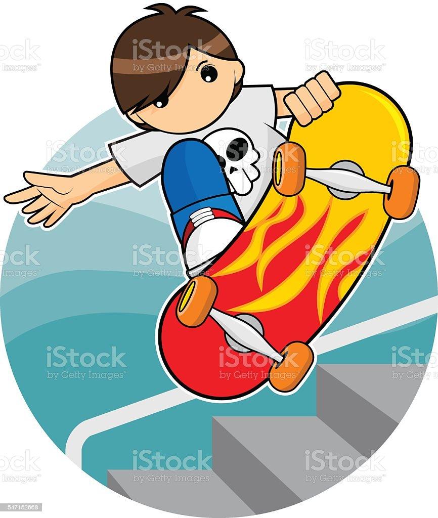 Skate Board Boy vector art illustration