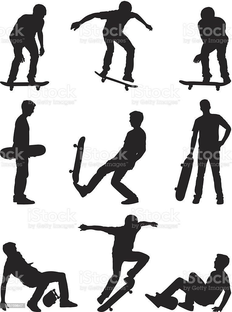 Skate boarding skater silhouettes vector art illustration