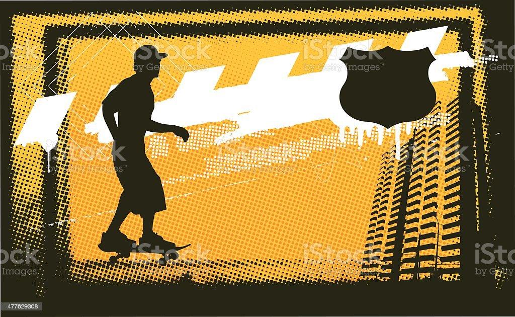 skate scene with skater in urban grunge scene vector art illustration