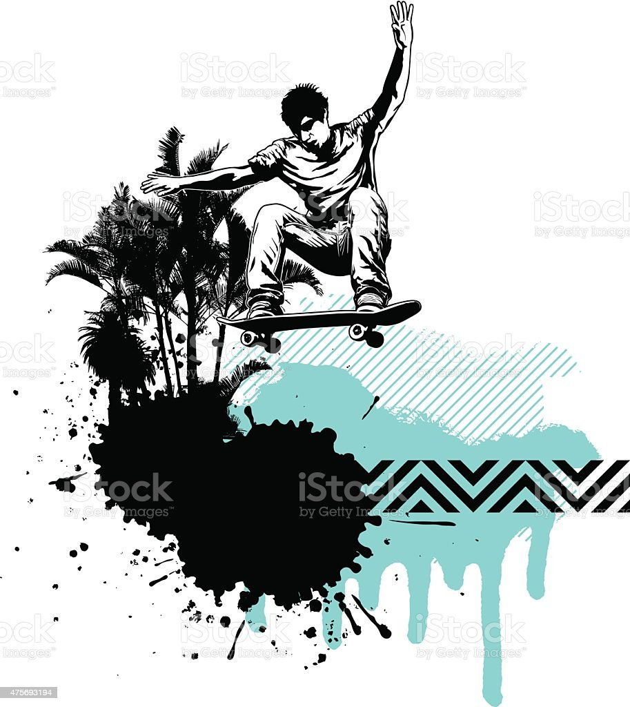 skate scene with summer background and copy space vector art illustration