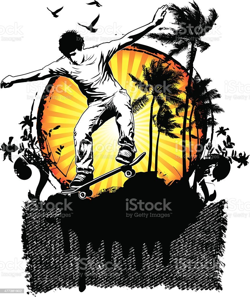skate sunset summer scene vector art illustration