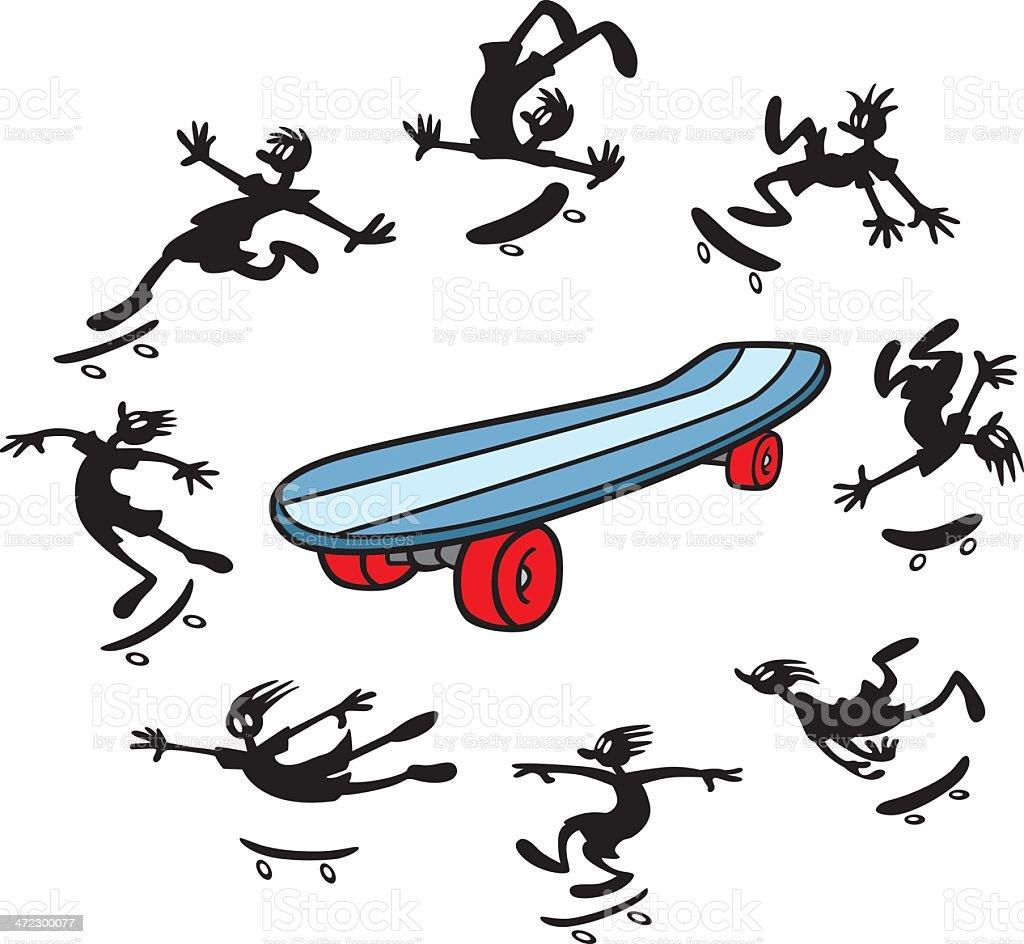 Skateboard Cartoons royalty-free stock vector art