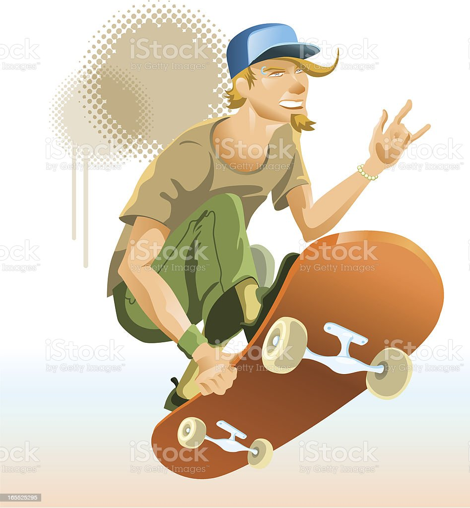Skateboard dude in mid-air with splatter behind him royalty-free stock vector art