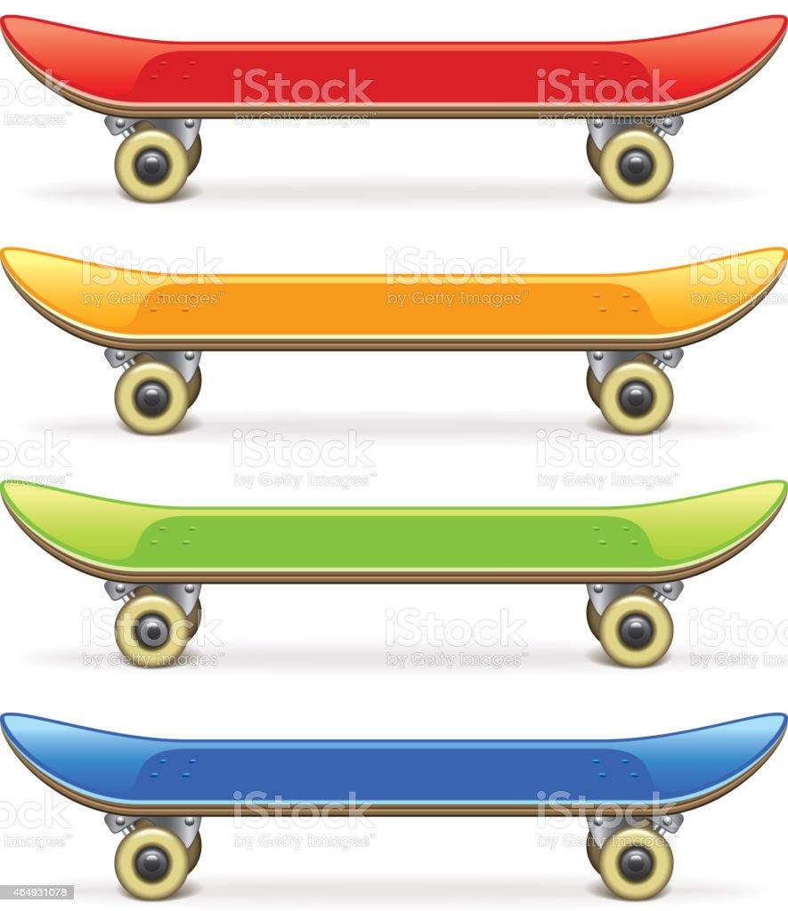 Skateboard set isolated on white vector vector art illustration