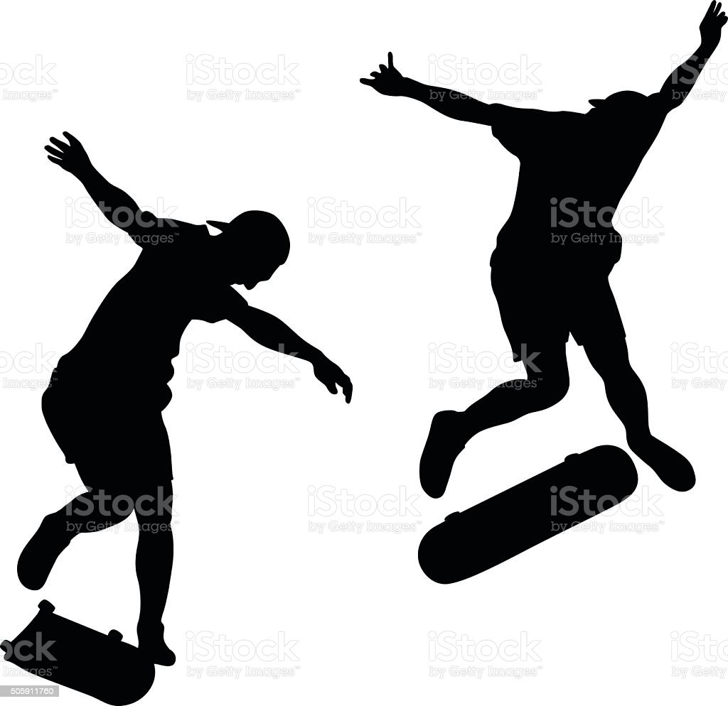 Skateboard Tricks vector art illustration