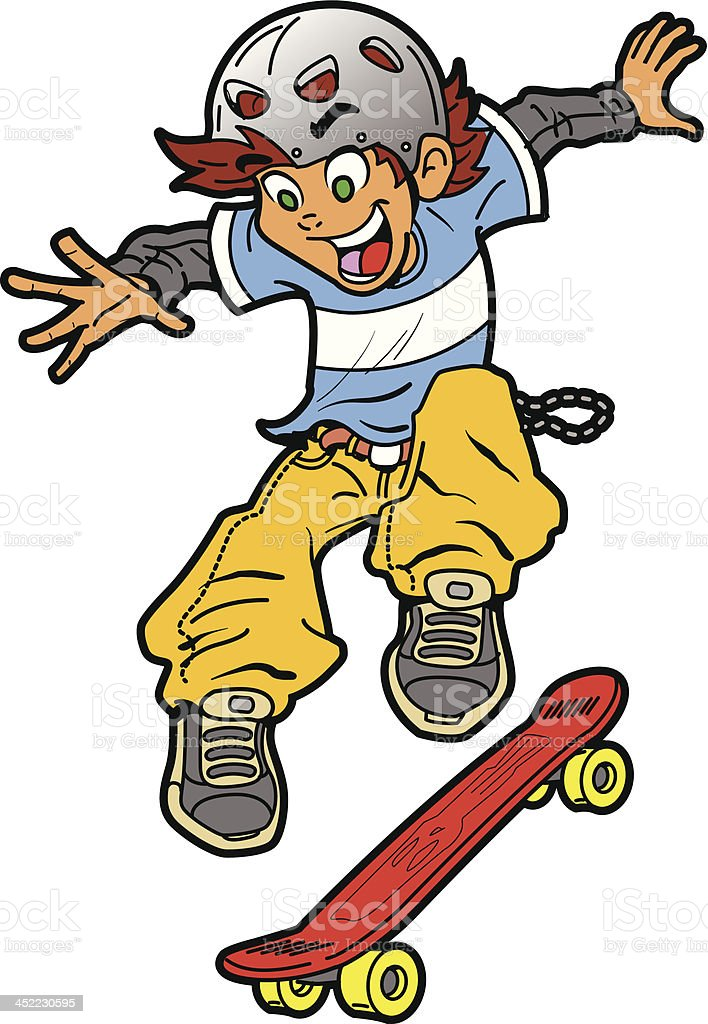Skateboarder Doing Trick royalty-free stock vector art