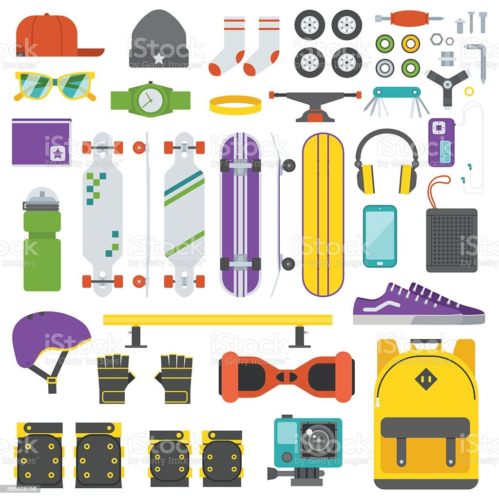Skateboarder Equipment and Gear Set vector art illustration
