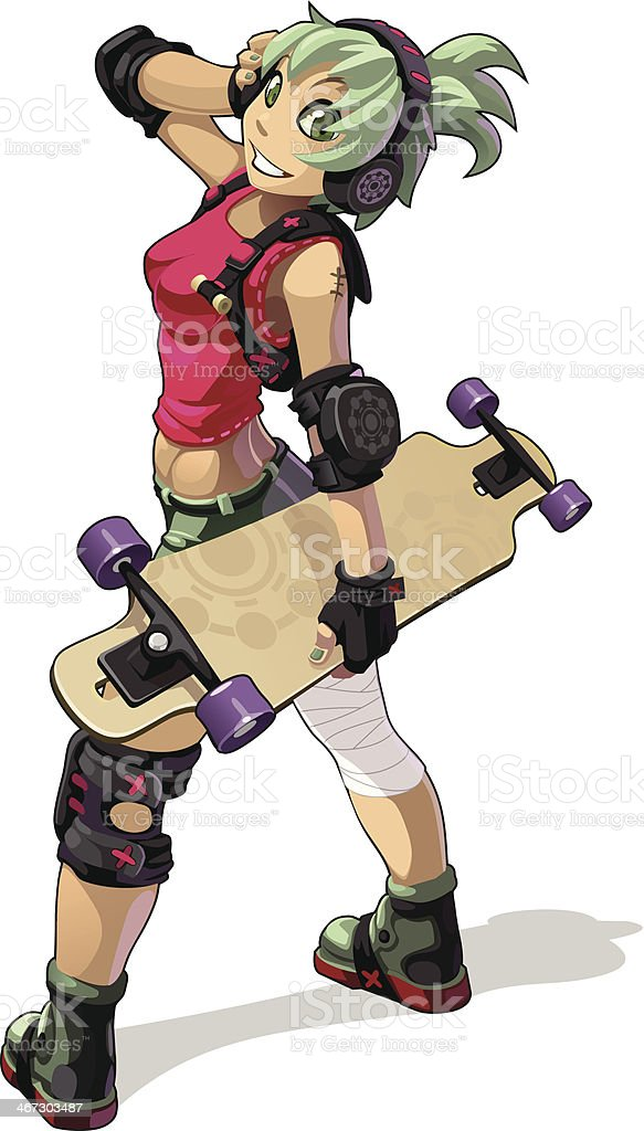 skateboarder girl vector art illustration
