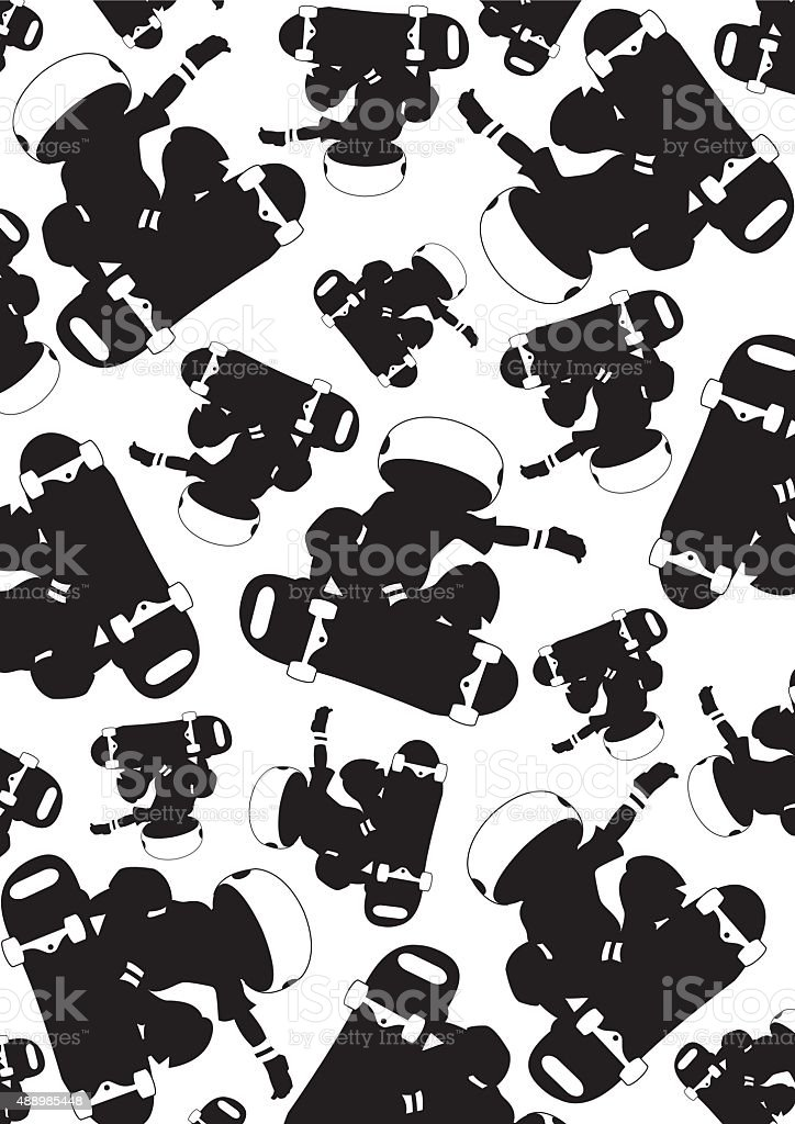 Skateboarder Pattern vector art illustration