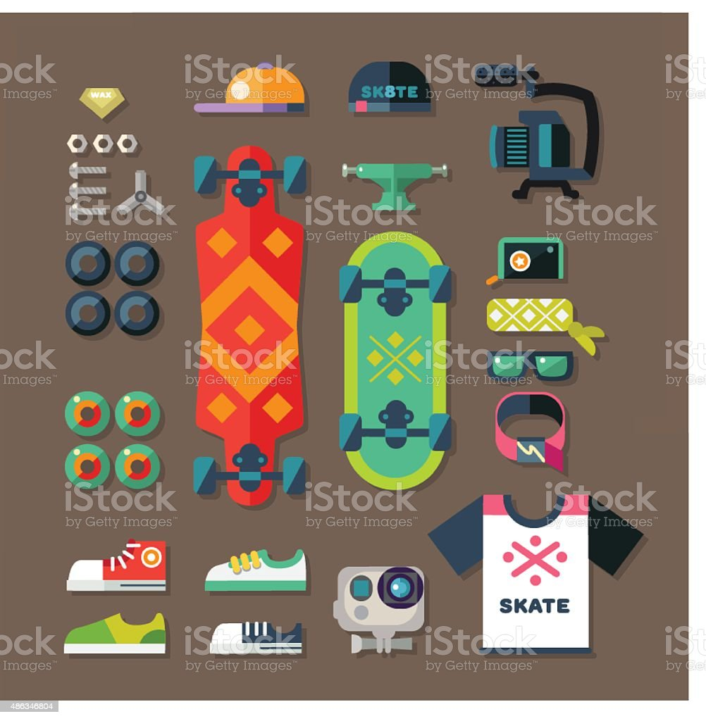 Skateboarder set. vector art illustration