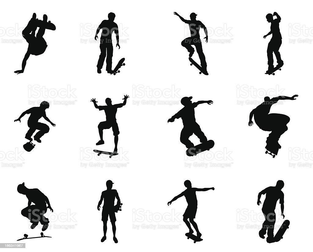 Skateboarder silhouette outlines vector art illustration