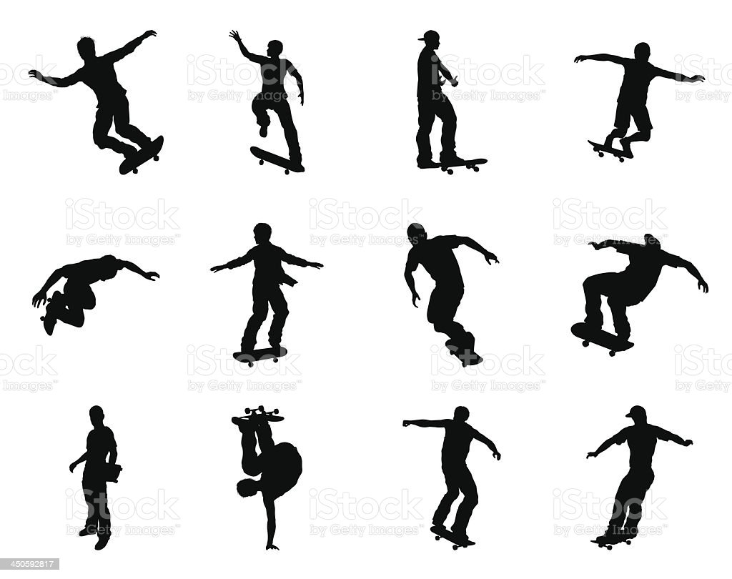 Skateboarder silhouettes vector art illustration