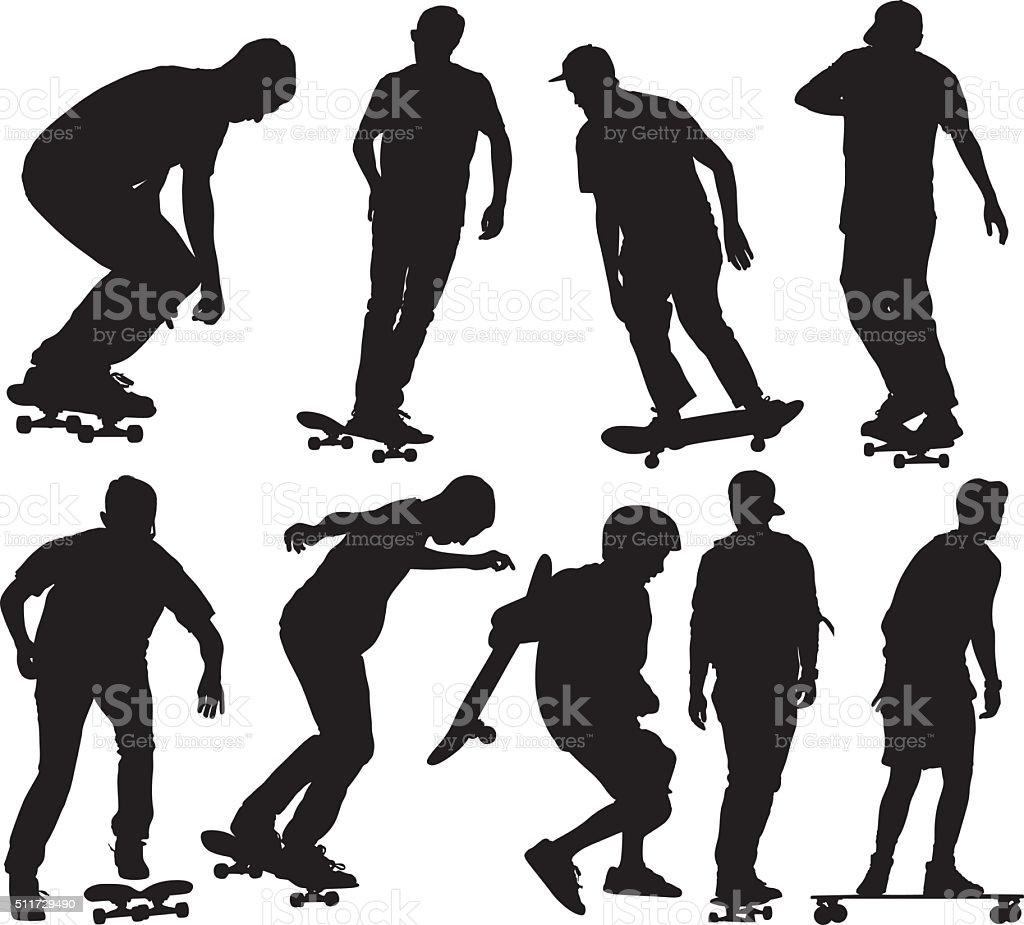 Skateboarder skateboarding vector art illustration