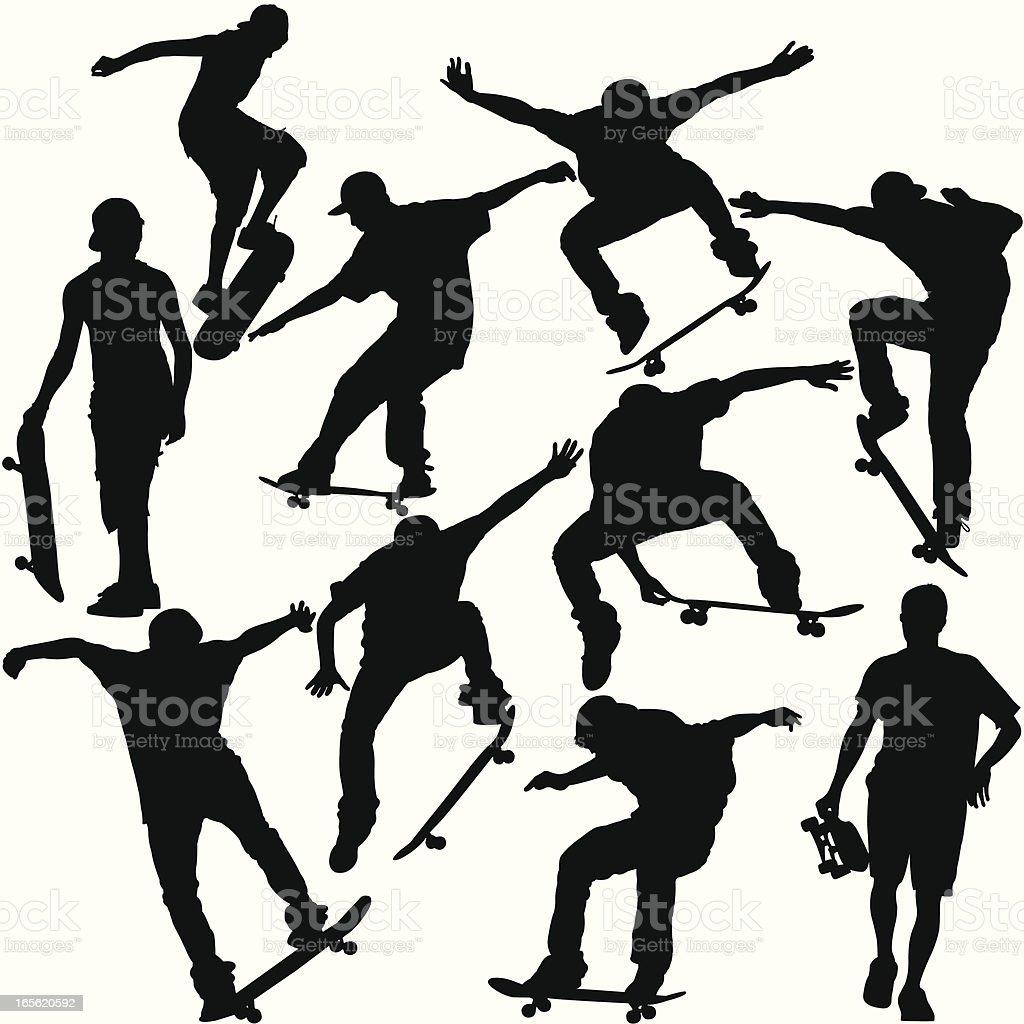 Skateboarders Silhouette Set vector art illustration