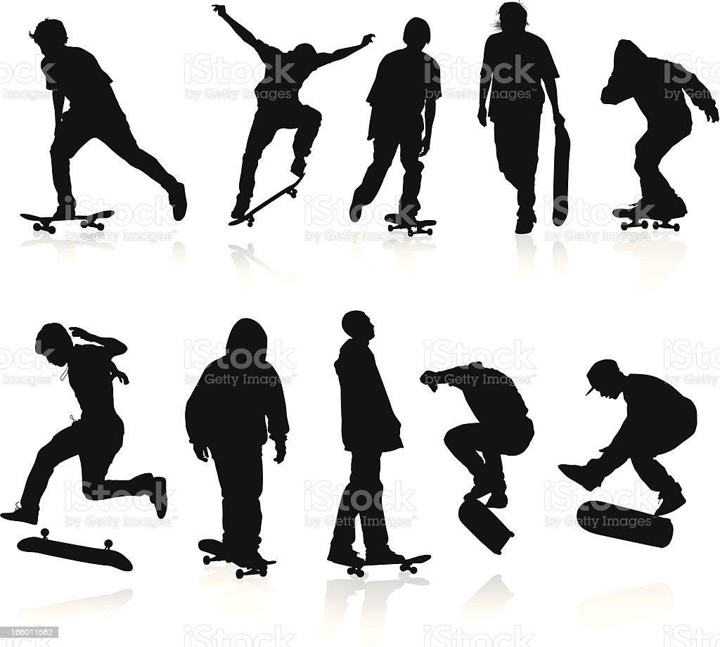 Skateboarders silhouettes vector art illustration