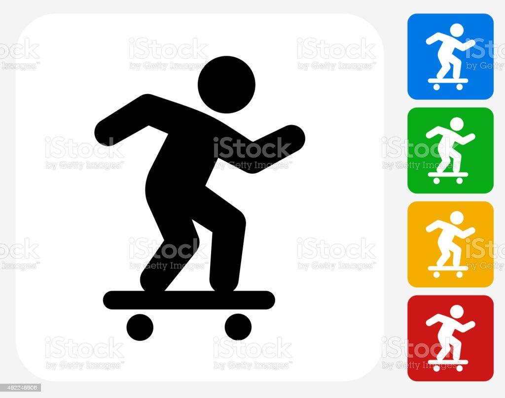 Skateboarding Icon Flat Graphic Design vector art illustration
