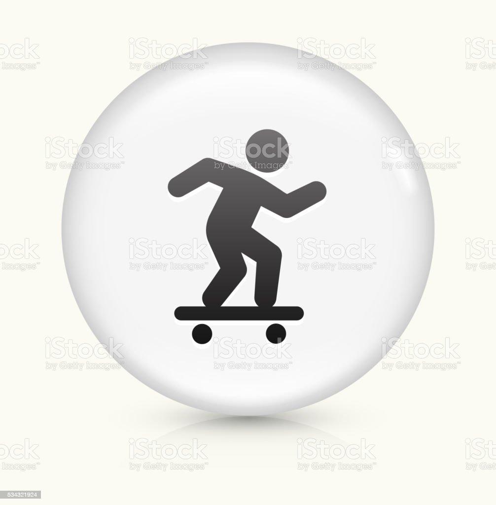 Skateboarding icon on white round vector button vector art illustration