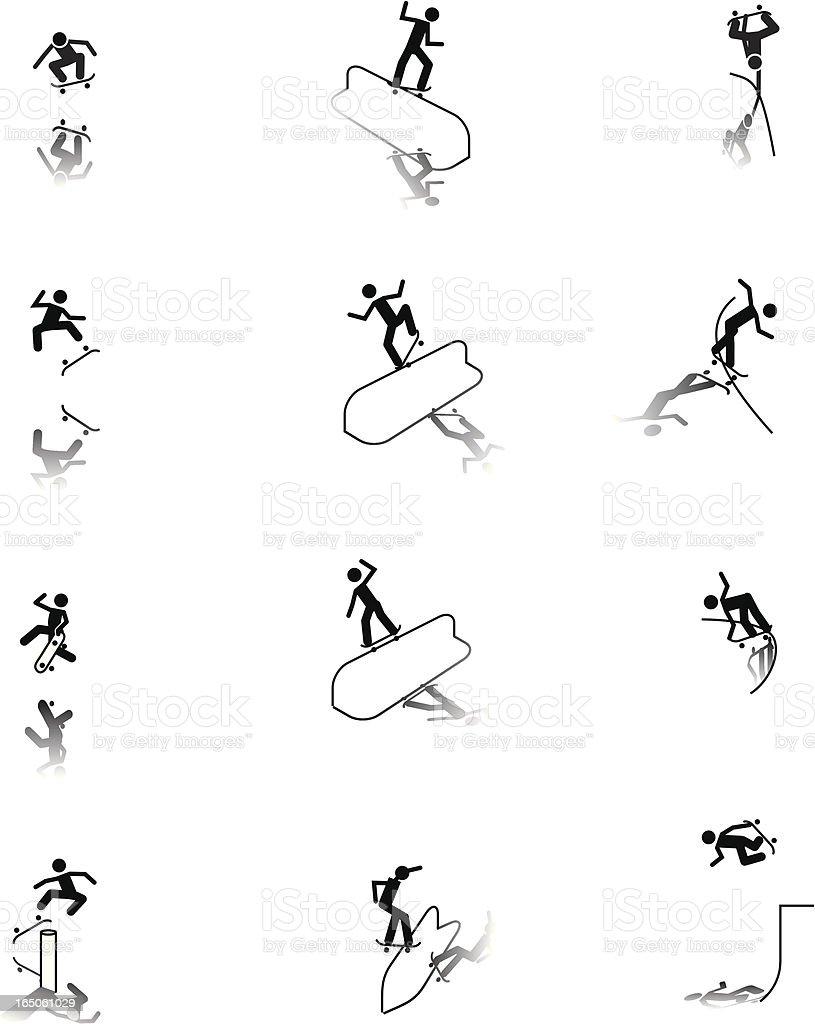 Skateboarding icons vector art illustration