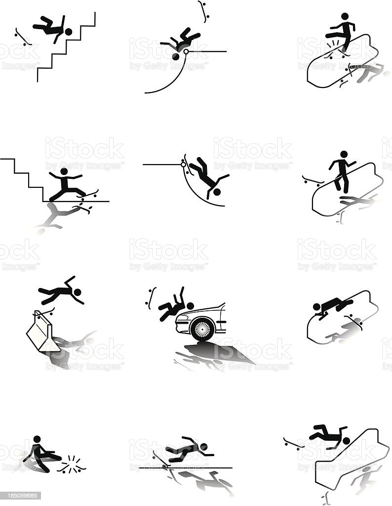 Skateboarding OUCH icons royalty-free stock vector art