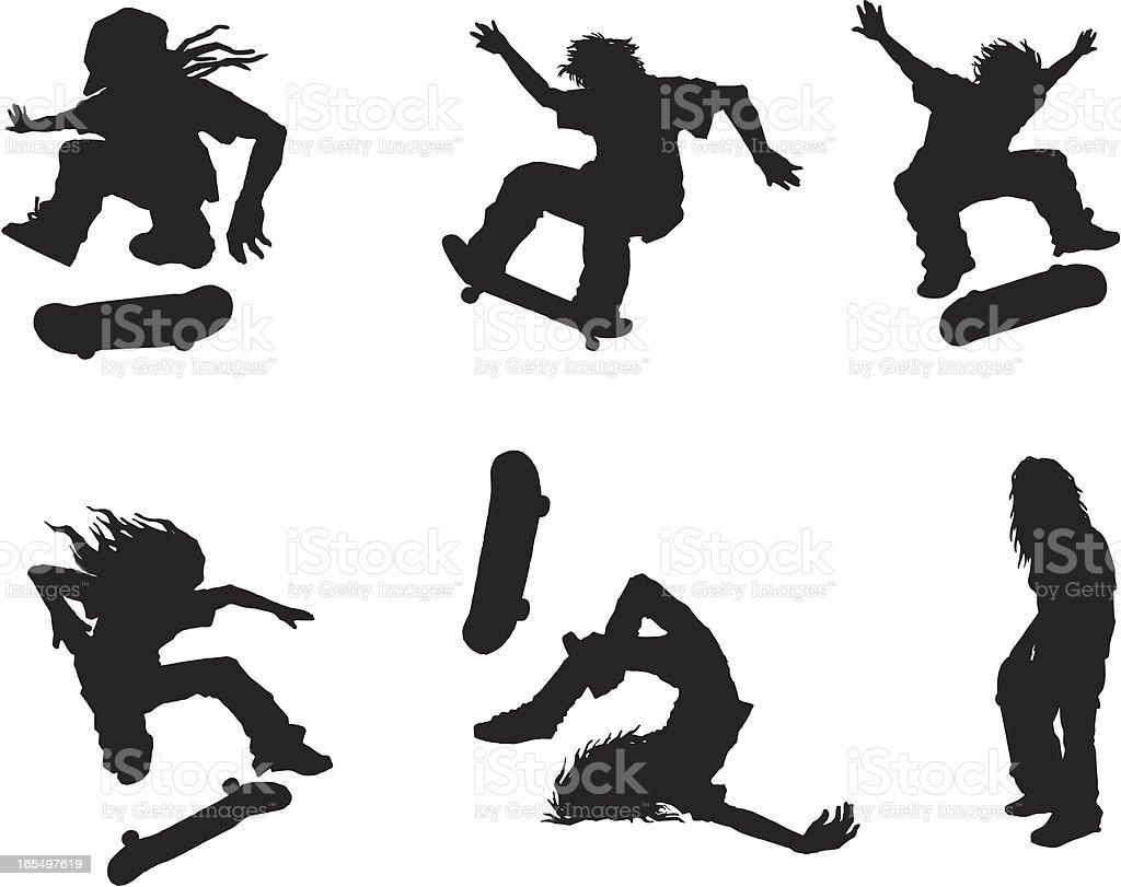 skateboarding silhouettes royalty-free stock vector art