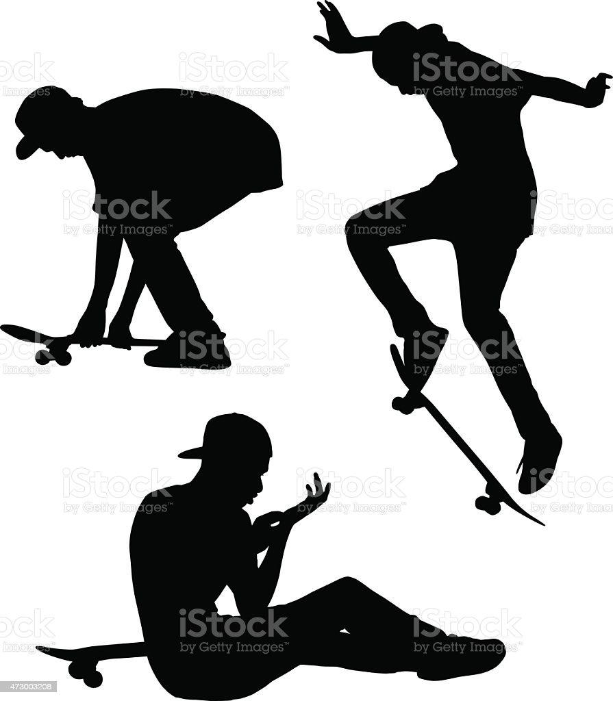 Skateboarding Silhouettes vector art illustration