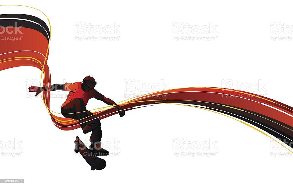 Skateboarding vector art illustration