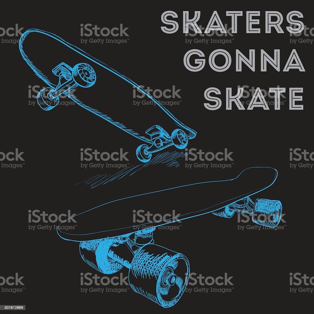 Skateboards vector art illustration