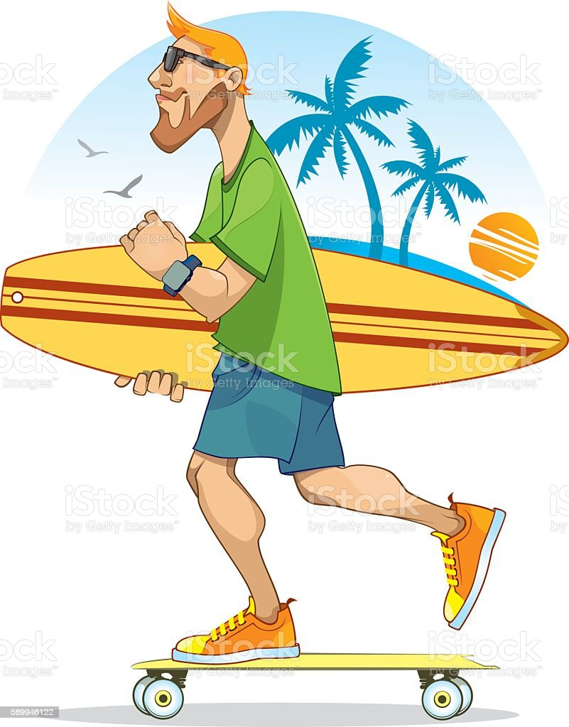 Skater and Surfer vector art illustration