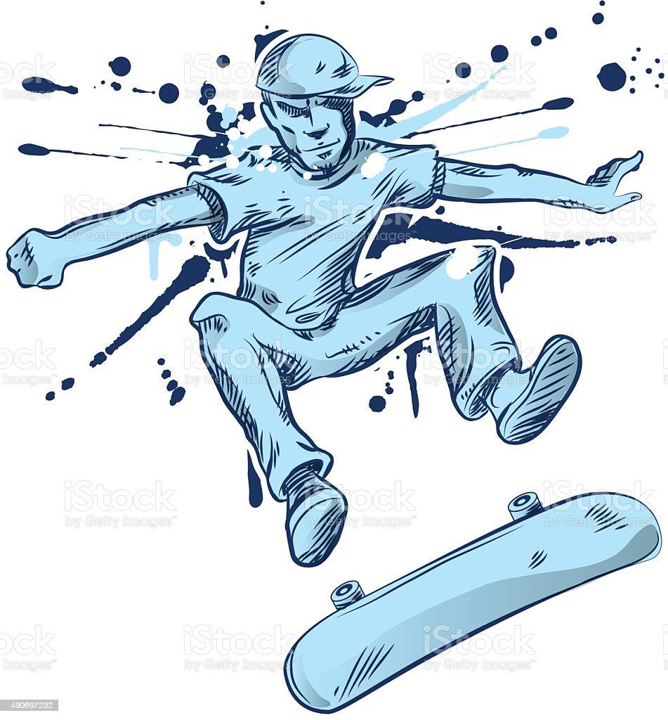 skater hand draw on white background vector art illustration