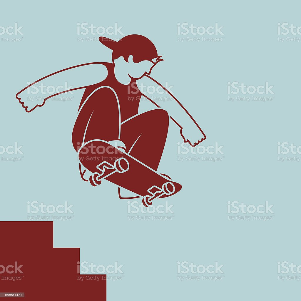 Skater jumping down stairs vector art illustration