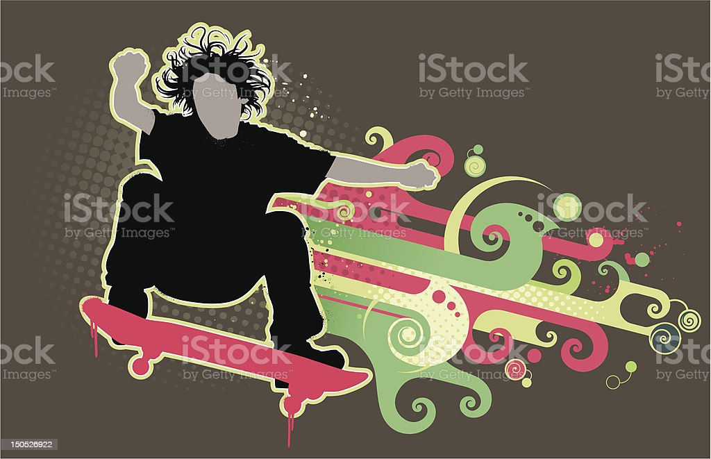 Skater on mid-air royalty-free stock vector art