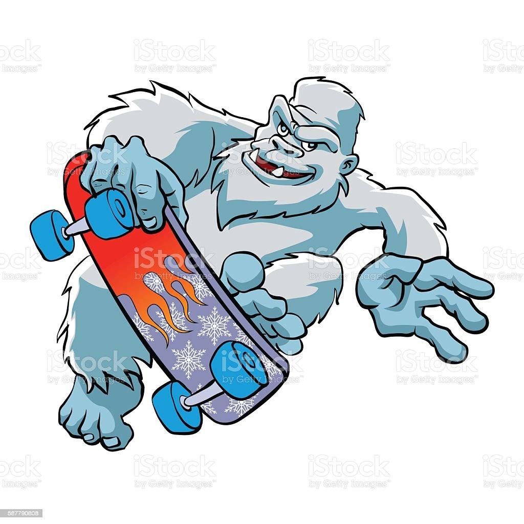 Skater yeti Isolated vector art illustration
