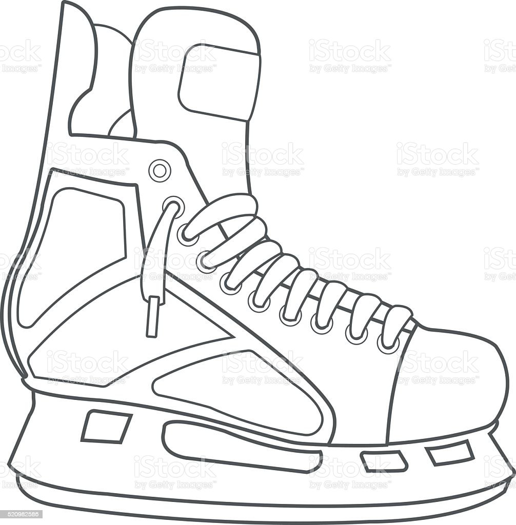 Skates, hockey ammunition, sports equipment black white outline drawing. vector art illustration